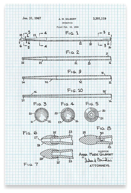 Drum Stick Poster Patent Art Print Contemporary Prints And