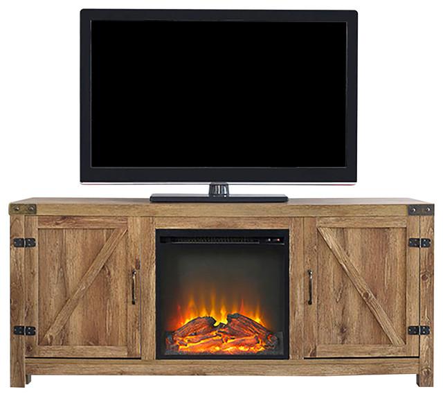 58 Barn Door Fireplace Tv Stand Barnwood Rustic