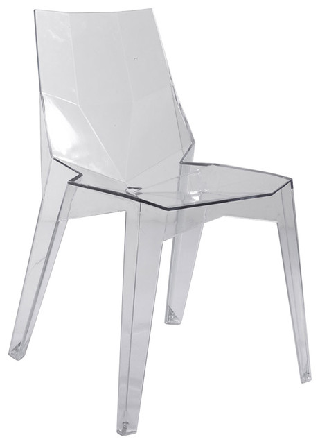 Transparent Polycarbonate Ghost Dining Armless Chair, Clear, Set Of 4