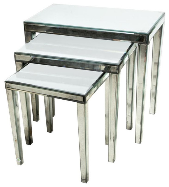 Set Of Three Mirrored Nested Tables   $6,800 Est. Retail   $3,200 On  Chairish.