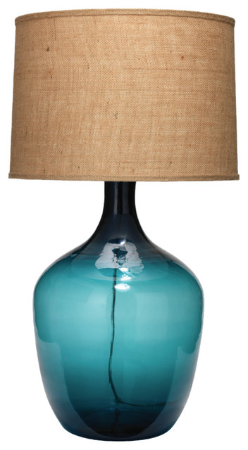 Extra Large Plum Jar Table Lamp Navy Blue Glass With