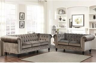 Abbyson Living 2-Piece Velvet Sofa Set, Gray