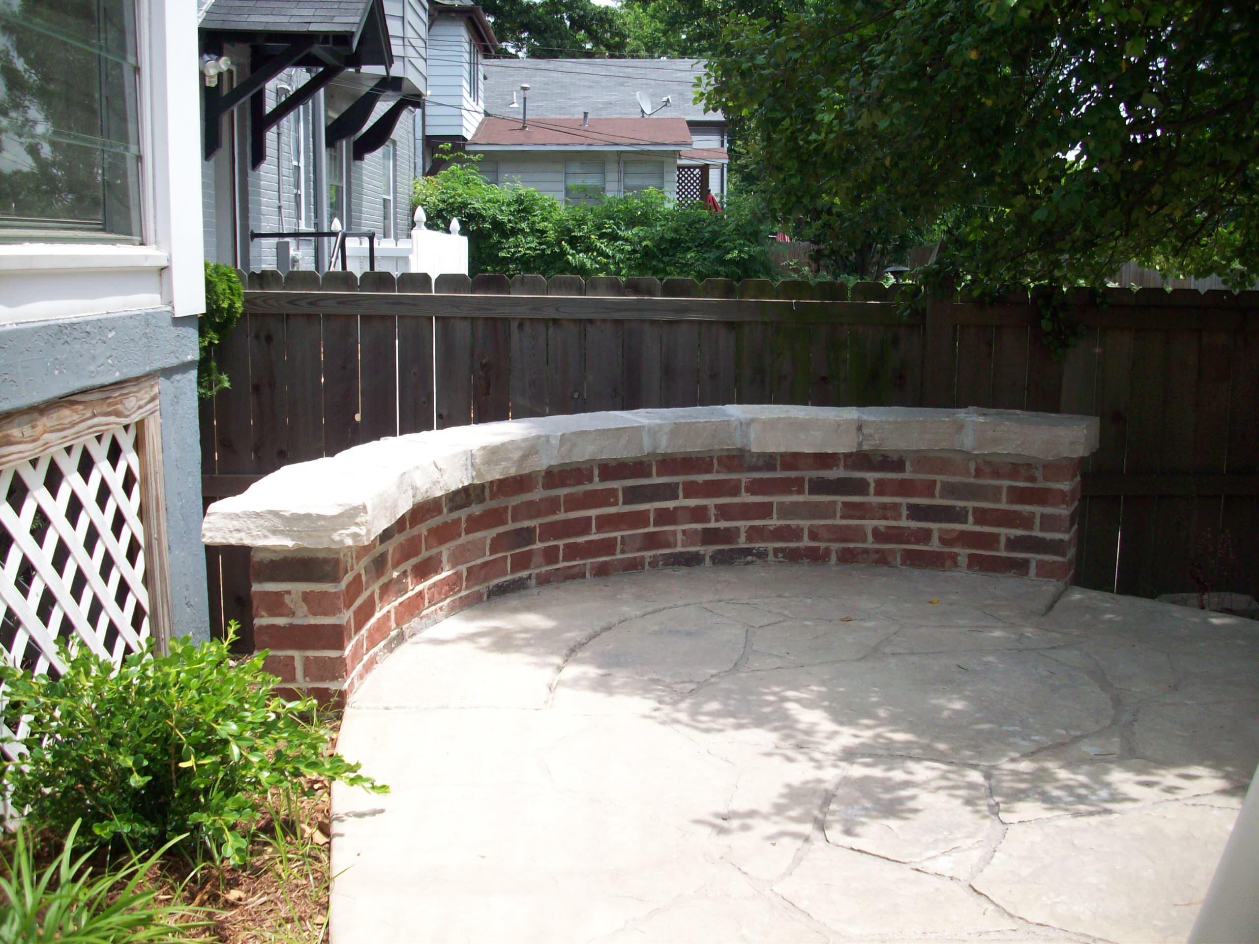 University City, Missouri Brick Masonry Sitting Wall with Eden Limestone Cap