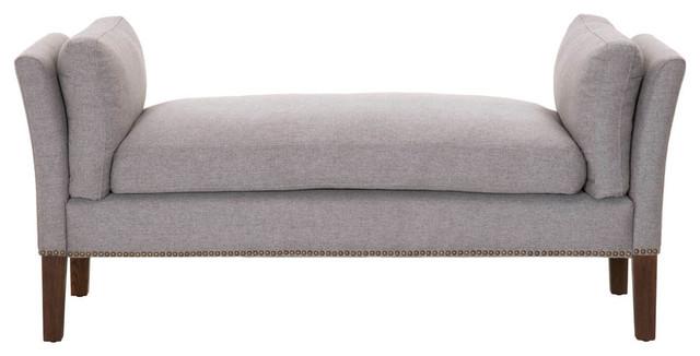 Upholstered Bench, Gray. -1
