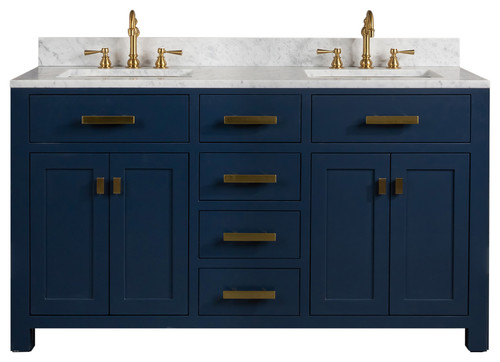 "Madison 60"" Carrara White Marble Vanity, Monarch Blue"
