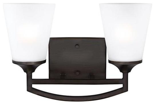 Sea Gull Lighting 44236 962 2 Light Brushed Nickel: Seagull 4424502-962 Hanford 2-Light Wall Bath, Brushed