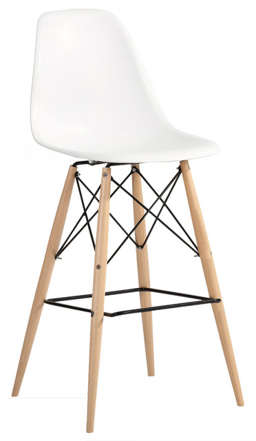 Molded Plastic Bar Chair With Dowel Legs Scandinavian