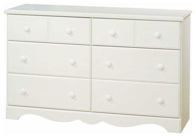 Merveilleux South Shore Summer Breeze 6 Drawer Double Dresser, White Wash