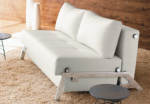 Cubed Deluxe White Leather Textile Sofa