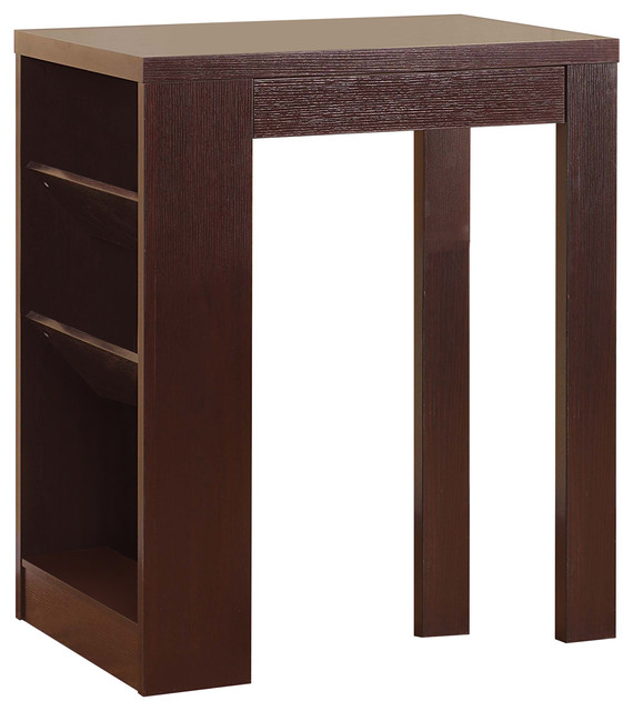 Stylish Bar Table With Table Top Features, Dark Brown.
