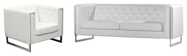 Vegas Faux Leather Sofa And Chair Set.