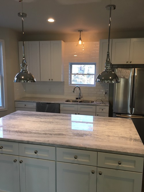 white finished kitchen island
