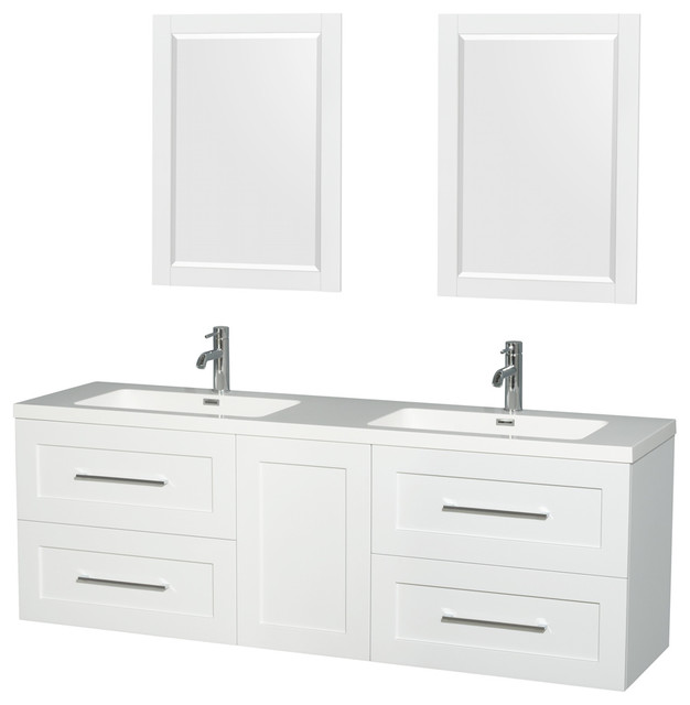 Olivia 72 Double Vanity, Acrylic Resin Top, Integrated Sinks.