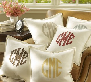 Monogram Applique Pillow Cover  bed pillows