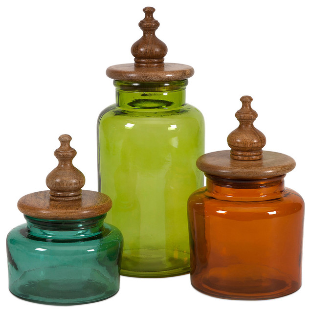 Saburo Glass and Wood Lid Canisters 3Piece Set Traditional