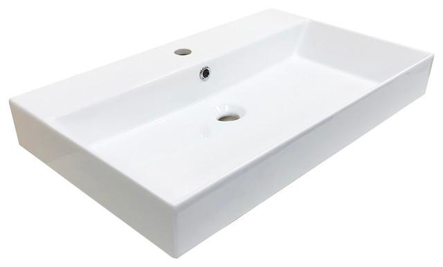 Energy 70 Ada Compliant Wall Mounted Bathroom Sink, Ceramic White 27.6.