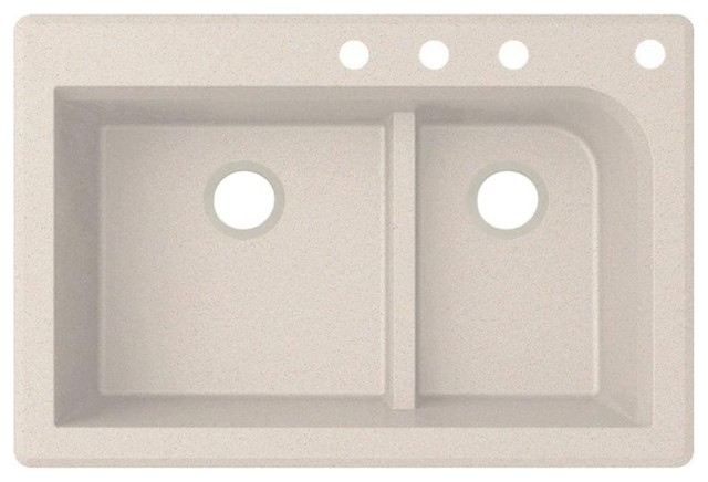 Swan 33x22x9.5 Granite Kitchen Sink, 4-Hole, Granito.