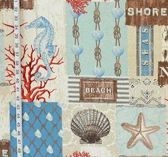 Beach cottage fabric ocean fish seashell seahorse