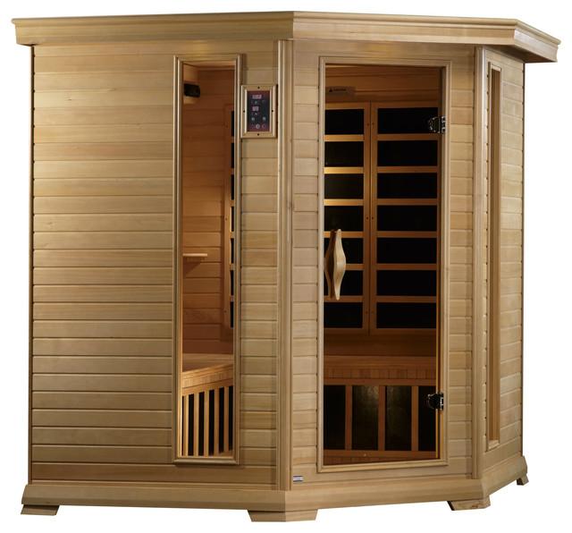 Golden Designs Monte Carlo 4-5-Person Corner Near Zero Emf Far Infrared Sauna.