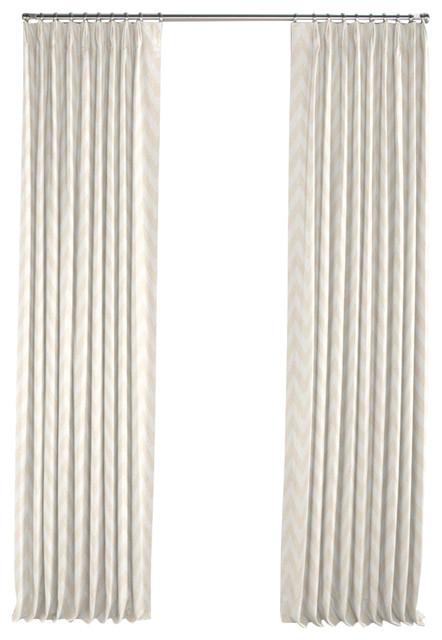 Metallic White And Gold Chevron Pleated Curtain Single