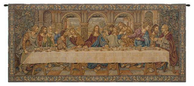 "The Last Supper Vii, Wall Tapestry, 26""x62""."