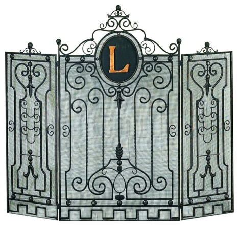 Personalize your home with this classic Monogrammed 3 Panel Iron Gate Fireplace Screen in Burnished Gold finish. Forged by master craftsmen of Iron and Tole