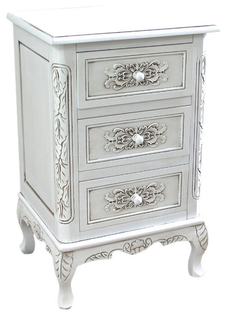 Carved Wood Three End Table Antique White Traditional