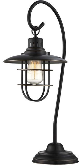 Table Lamp, D.brz Metal Lantern, E27 Vintage Bulb 60w(lu-60v.