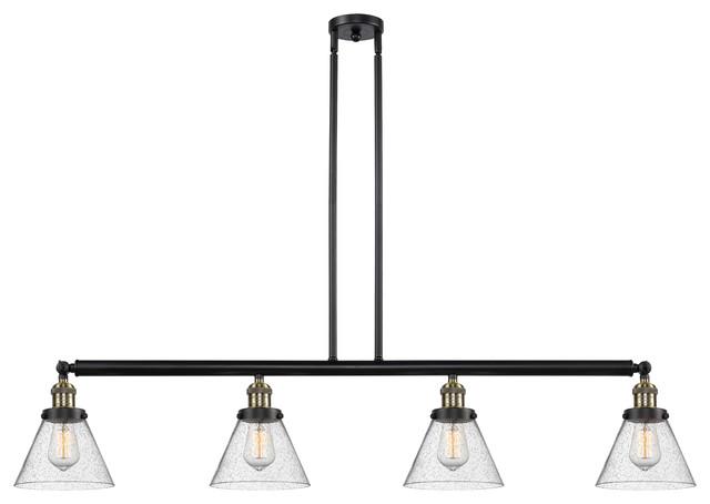 Large Cone 4-Light LED Island Light, Black Antique Brass, Glass: Seedy