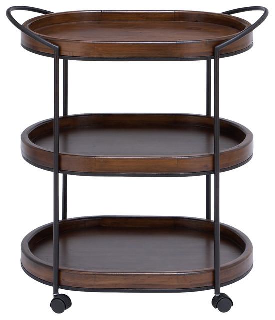 Metal Wooden 3-Tier Bar Cart, Dark And Natural Wood Finish.