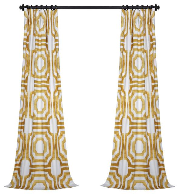 "Mecca Gold Printed Cotton Curtain Single Panel, 50""x108"""