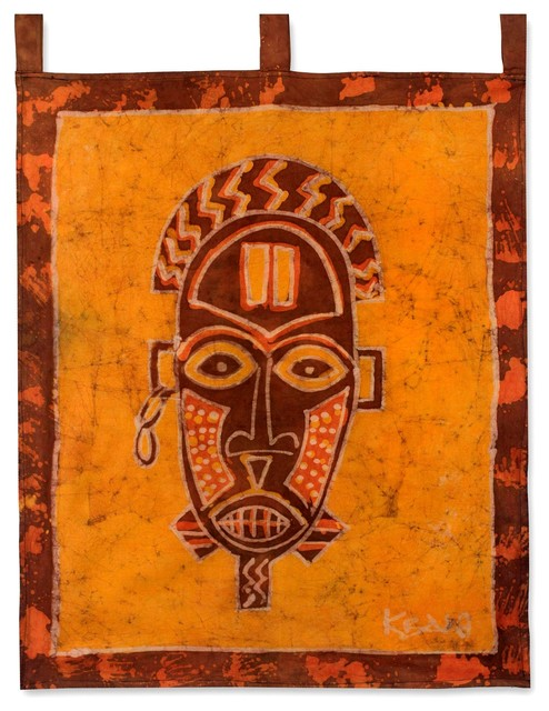 Oduro Mask Batik Wall Hanging Tropical Tapestries By Novica