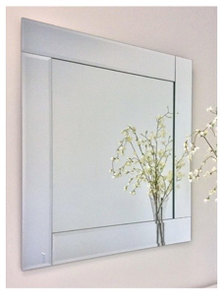 "Overlay Frameless Mirror With Polished Beveled Edges, 30"" Square. -2"