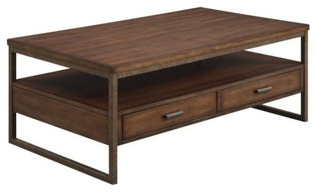 coaster 2-drawer coffee table, light brown - transitional - coffee