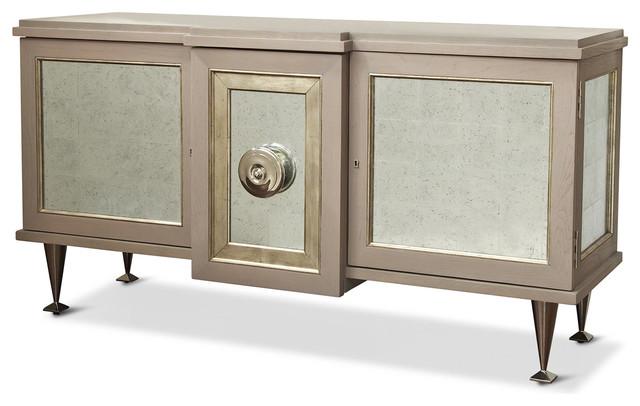 Streep Hollywood Regency Gray Silver Leaf Storage Cabinet ...