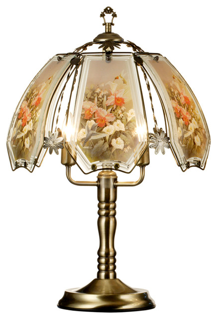 """23.5"""" Tall Touch Table Lamp, Brushed Gold Finish, Hummingbird-Patterned Shade."""