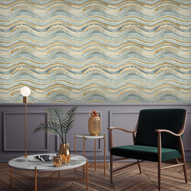 Travertine Aquamarine And Gold Peel And Stick Wallpaper Sample Contemporary Wallpaper By Tempaper