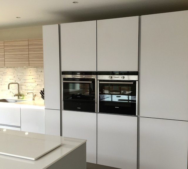 Next 125 White And Stone Grey Glass With Ash Veneered Wall