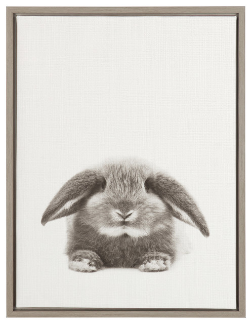 Sylvie Rabbit Gray Framed Canvas Wall Art By Simon Te Tai