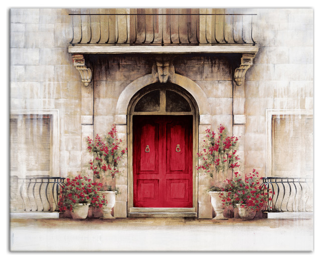 "Wall Art Red red door tuscan scene"" canvas wall art, 20""x16"" - farmhouse"