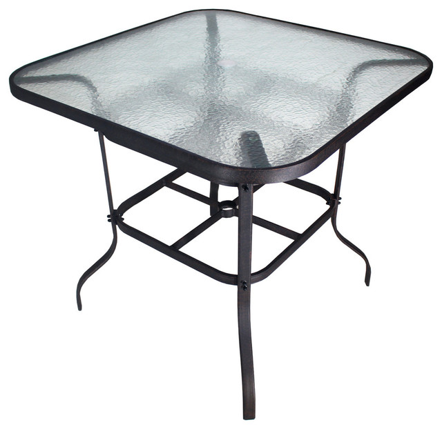 Oroville 42 Bar Height Glass Top Table, Outdoor Bar Height Glass Top Table