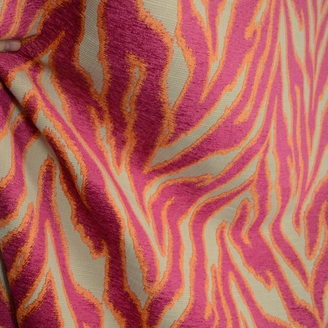 Katniss Hibiscus Zebra Print Chenille Upholstery Fabric