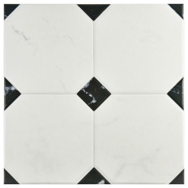 "13.13""x13.13"" Genevieve  Floor/wall Tiles, Set Of 9, Noir And Blanc."