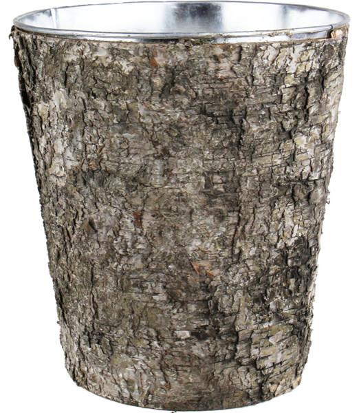 Cys Zinc Pot With Natural Birch Wood Wrap Zinc Cylinder Vases