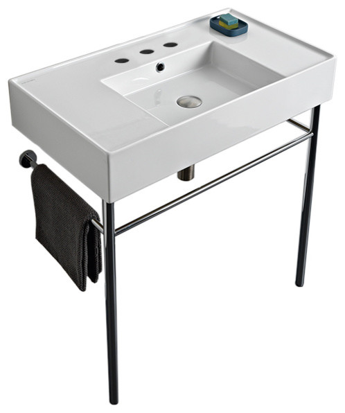 32 Ceramic Console Sink And Polished Chrome Stand, 3-Hole.