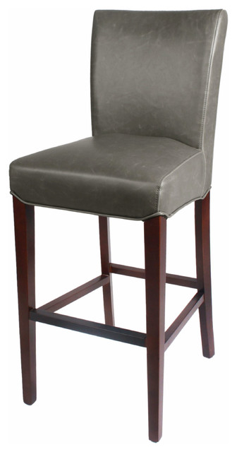 3d59f33b9d71 Milton Bonded Leather Bar Stool With Wenge Legs - Transitional - Bar ...