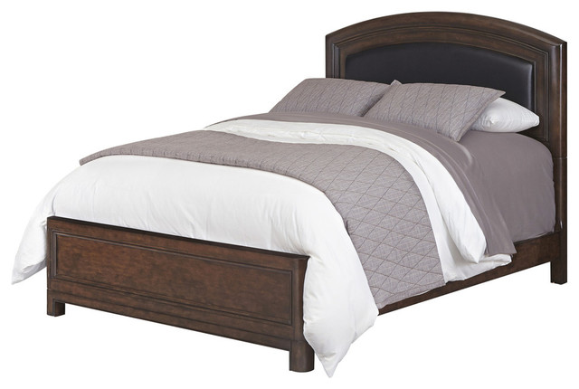 Crescent Hill Leather Upholstered Bed, King.