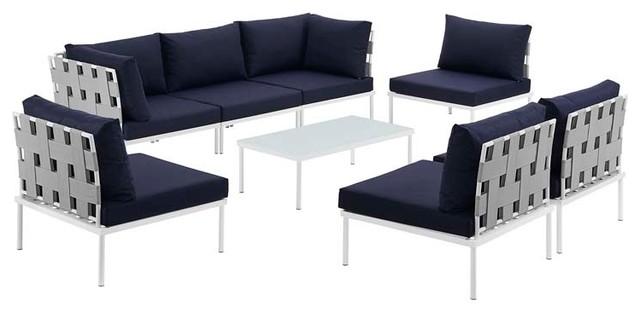 Harmony 8 Piece Outdoor Aluminum Sectional Sofa Set, White Navy