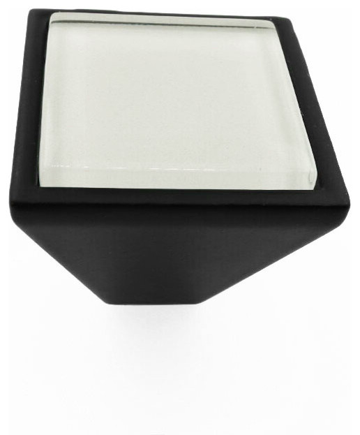 Crystal White Crystal Glass Black Metal Square Frustum Knob - Contemporary - Cabinet And Drawer ...