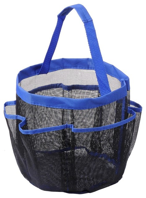 Mesh Shower Caddy With 8 Pockets Quick Dry Bath Tote Organizer With Blue Handle.